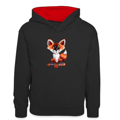 llwynogyn - a little red fox - Kinder Kontrast-Hoodie