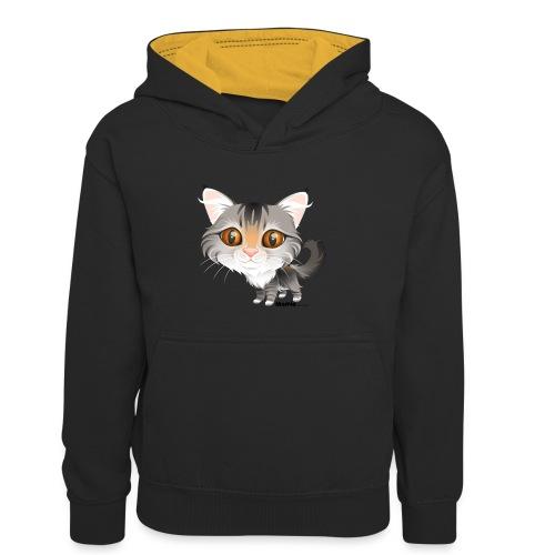 Katze - Kinder Kontrast-Hoodie