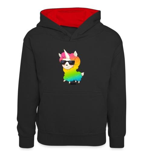 Regenbogenanimation - Kinder Kontrast-Hoodie