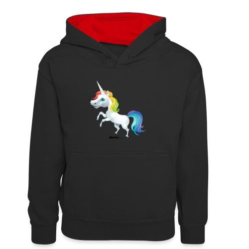 Regenbogen-Einhorn - Kinder Kontrast-Hoodie