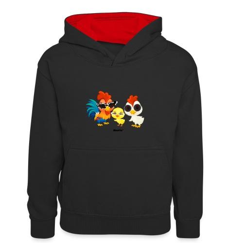 Kurczak - autorstwa Momio Designer Emeraldo. - Dziecięca bluza z kontrastowym kapturem
