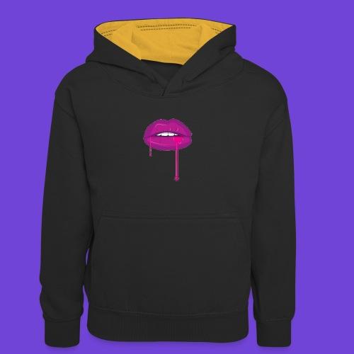 Purple Kiss - Felpa con cappuccio in contrasto cromatico per bambini