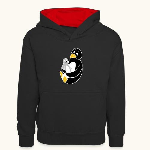 Drôle de pingouin Papa Idée cadeau des parents - Sweat à capuche contrasté Enfant