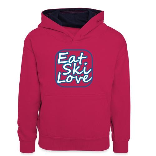 eat ski love - Teenager contrast-hoodie/kinderen contrast-hoodie