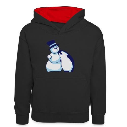 Schneemann und Pinguin - Kinder Kontrast-Hoodie