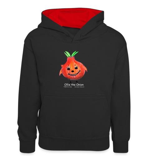 mens black T-shirt Ollie the Onion - Kids' Contrast Hoodie