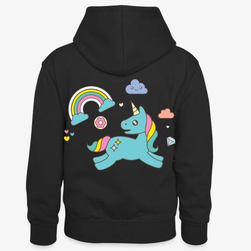 colored unicorn - Kids' Contrast Hoodie
