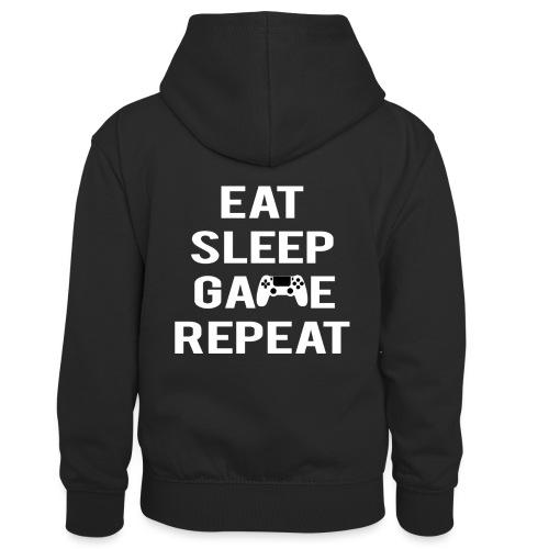 Eat, sleep, game, REPEAT - Kids' Contrast Hoodie