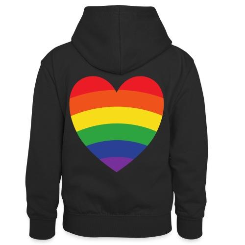 Regenbogenherz | LGBT | Geschenkidee - Kinder Kontrast-Hoodie
