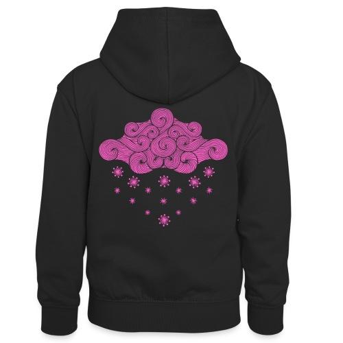 nuage rose et flocons vacances d'hiver - Sweat à capuche contrasté Enfant