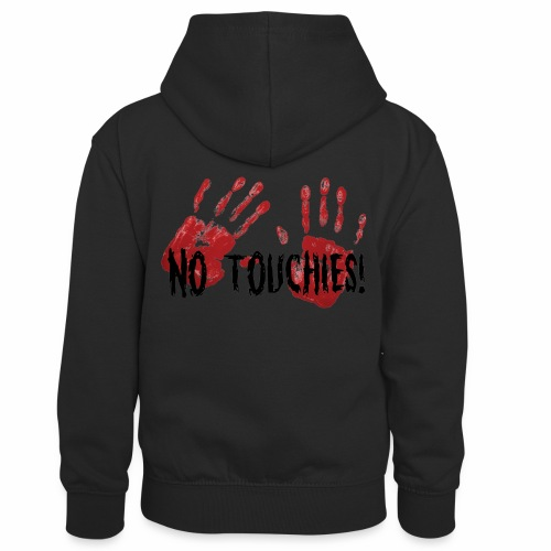No Touchies 2 Bloody Hands Behind Black Text - Kids' Contrast Hoodie