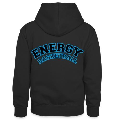 baby energy basketball logo nero - Felpa con cappuccio in contrasto cromatico per bambini