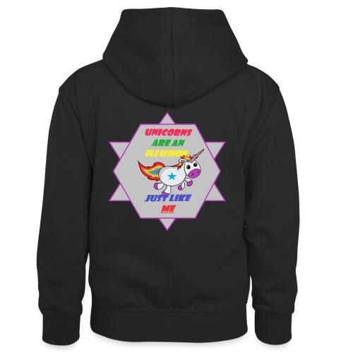 Unicorn with joke - Kids' Contrast Hoodie