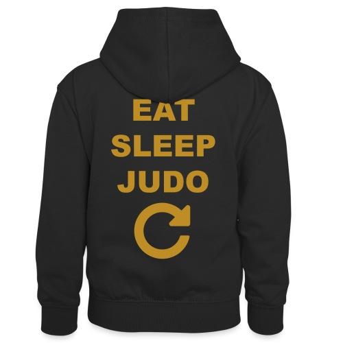 Eat sleep Judo repeat - Dziecięca bluza z kontrastowym kapturem