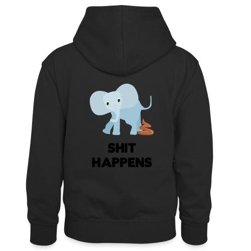olifant met drol shit happens poep schaamte - Teenager contrast-hoodie/kinderen contrast-hoodie