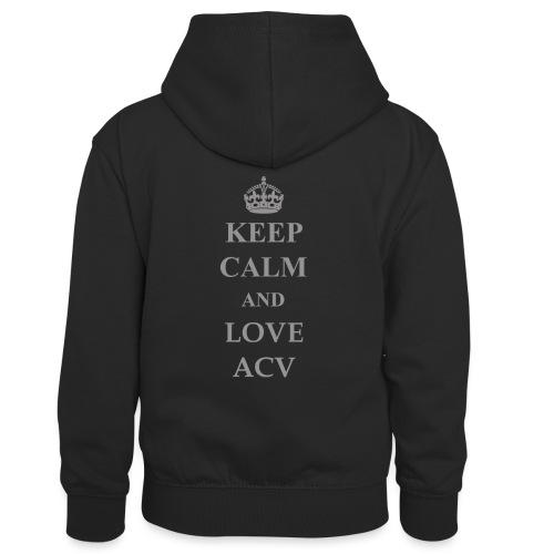 Keep Calm and Love ACV - Schriftzug - Kinder Kontrast-Hoodie
