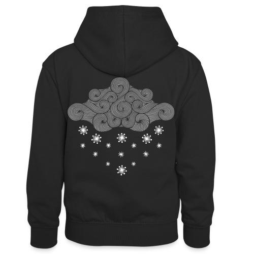nuage gris et flocons vacances d'hiver - Sweat à capuche contrasté Enfant