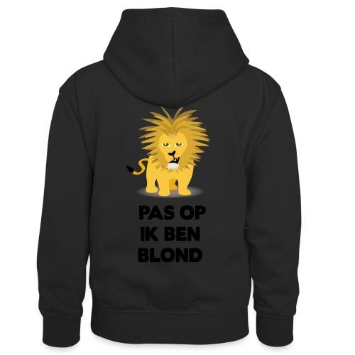 Pas op ik ben blond een cartoon van blonde leeuw - Teenager contrast-hoodie/kinderen contrast-hoodie