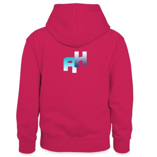 Logo-1 - Felpa con cappuccio in contrasto cromatico per bambini