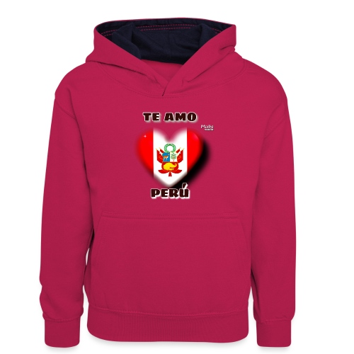 Te Amo Peru Corazon - Kids' Contrast Hoodie