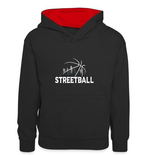 Streetball Skyline - Street basketball - Kids' Contrast Hoodie