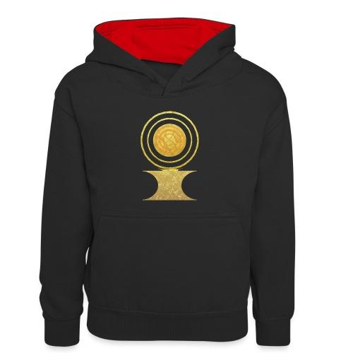 Native America Indianer Symbol Hopi ssl Sonne - Kinder Kontrast-Hoodie