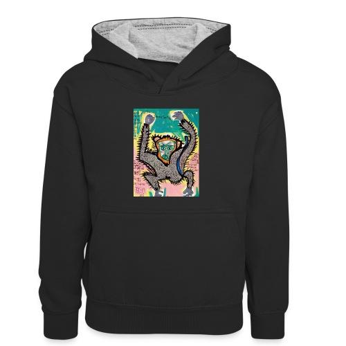 the monkey - Felpa con cappuccio in contrasto cromatico per bambini