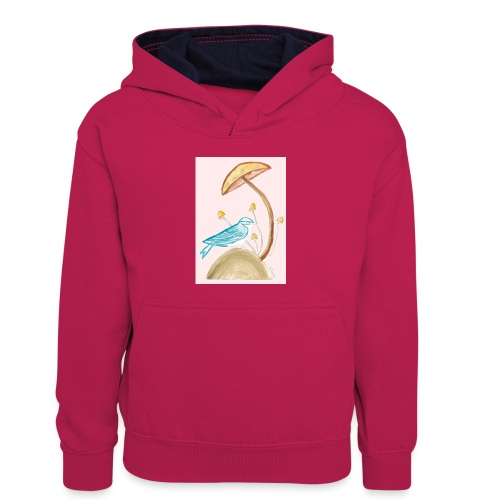 fungo con uccello - Felpa con cappuccio in contrasto cromatico per bambini