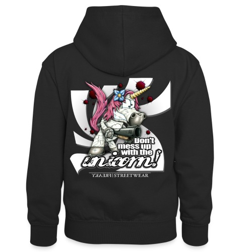 Don't mess up with the unicorn - Kinder Kontrast-Hoodie