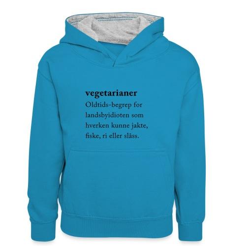 Vegetarianer definisjon - Kontrast-hettegenser for barn