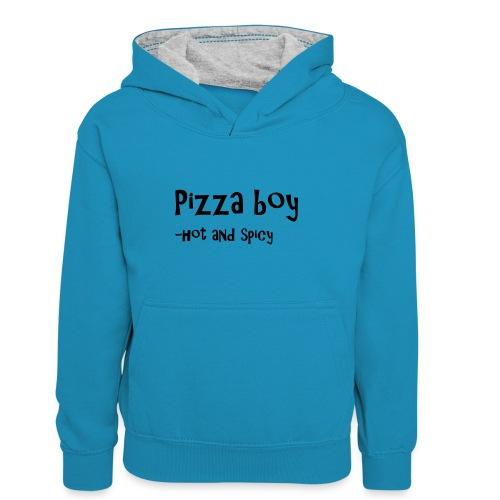Pizza boy - Kontrast-hettegenser for barn
