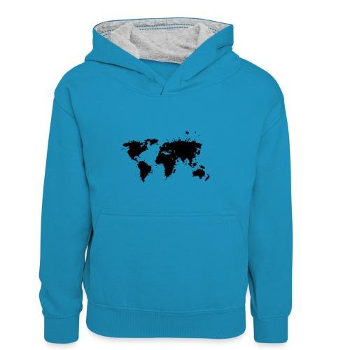 Weltkarte Splash - Kinder Kontrast-Hoodie