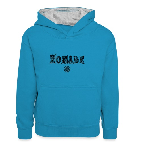 Nomade (en noir) - Sweat à capuche contrasté Enfant