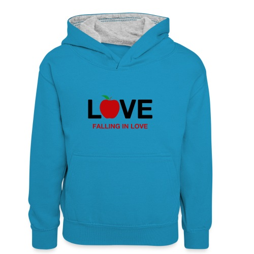 Falling in Love - Black - Kids' Contrast Hoodie