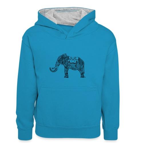 Éléphant oriental - Sweat à capuche contrasté Enfant