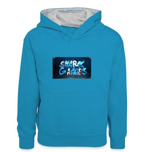SharkGames - Felpa con cappuccio in contrasto cromatico per bambini
