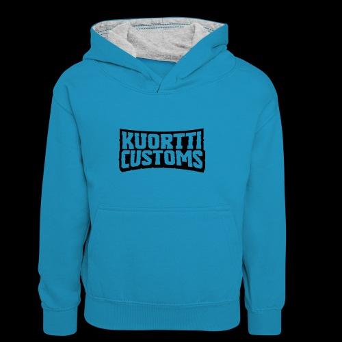 kuortti_customs_logo_main - Lasten kontrastivärinen huppari