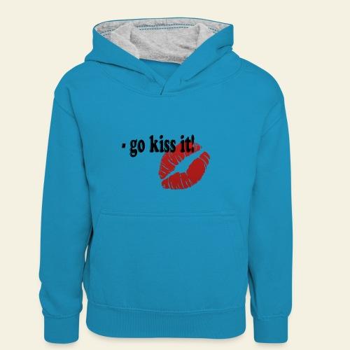 go kiss it - Kontrasthoodie børn