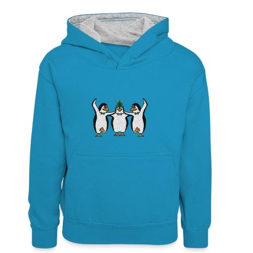 Penguin Trio - Kids' Contrast Hoodie