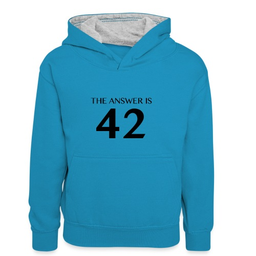 The Answer is 42 Black - Kids' Contrast Hoodie
