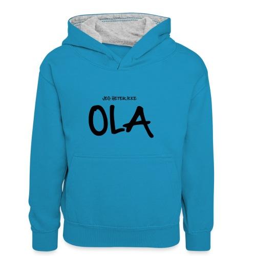 Jeg heter ikke Ola (fra Det norske plagg) - Kontrast-hettegenser for barn