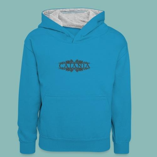 Caiania-logo harmaa - Lasten kontrastivärinen huppari