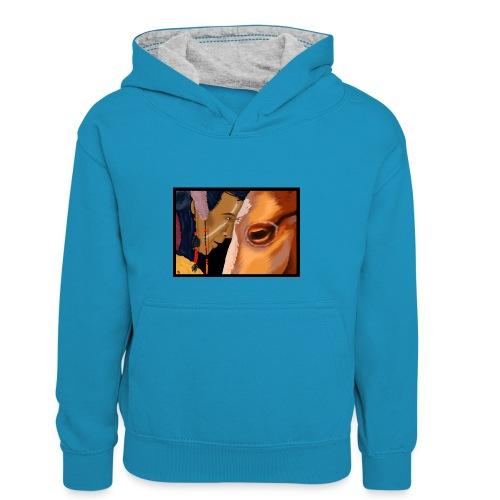 Man and Horse - Teenager contrast-hoodie/kinderen contrast-hoodie