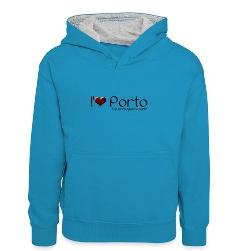 I Love Porto - Sweat à capuche contrasté Enfant