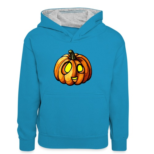 Pumpkin Halloween watercolor scribblesirii - Kids' Contrast Hoodie
