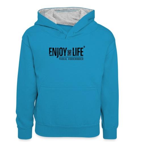 Enjoy this Life®-Classic Black Pascal Voggenhuber - Kinder Kontrast-Hoodie