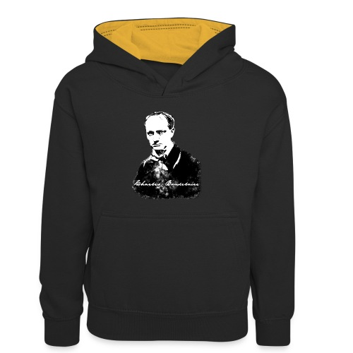 Baudelaire (fond blanc) + signature - Sweat à capuche contrasté Enfant