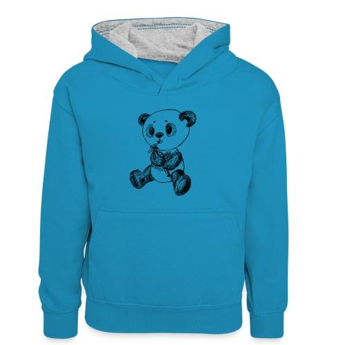 Panda Karhu musta scribblesirii - Lasten kontrastivärinen huppari