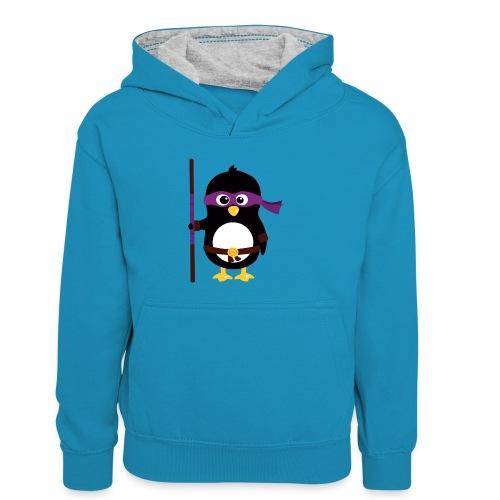 Pingouin ninja - Sweat à capuche contrasté Enfant