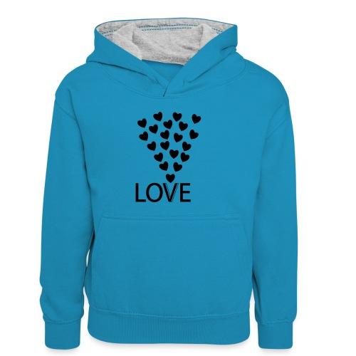 LOVE Herz - Kinder Kontrast-Hoodie